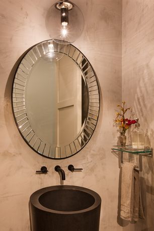 Art Deco Powder Room with Powder room, Console sink