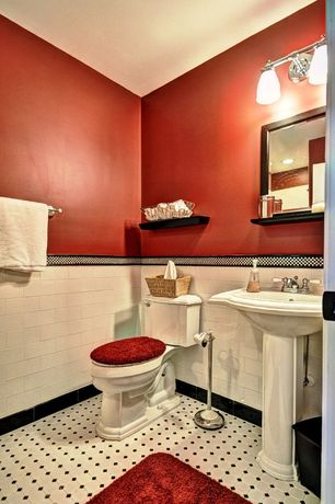 Cottage Full Bathroom with Standard height, can lights, Wall Tiles, wall-mounted above mirror bathroom light, Full Bath