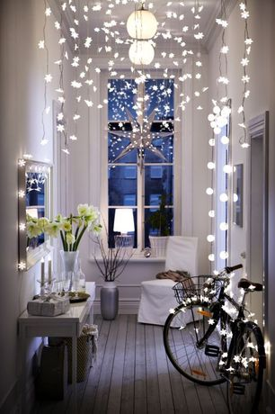 Contemporary Entryway with Hardwood floors, World market - white glitter 9-point star paper lantern, Casement, Crown molding