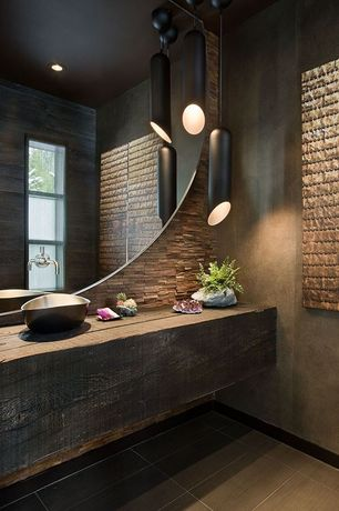 Contemporary Powder Room with Succulent Arrangement in Small Stone Bo, Small Rock Planter, Powder room, Stone Tile