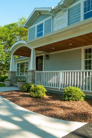 Craftsman Porch with Screened porch, Glass panel door, Pathway, exterior concrete tile floors, double-hung window, Fence
