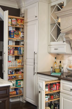 Traditional Pantry with Hardwood floors, Standard height, Built-in bookshelf, Crown molding, can lights
