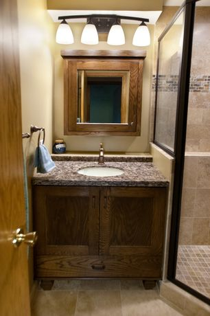 Craftsman 3/4 Bathroom with Undermount sink, Ms international colisseum 12 in. x 12 in. honed travertine floor and wall tile