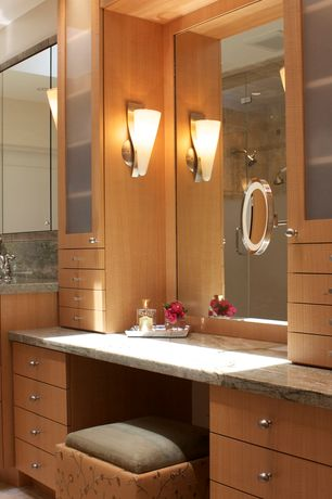 Contemporary Master Bathroom with Handheld showerhead, Master bathroom, Wall sconce, Skylight, European Cabinets, Flush