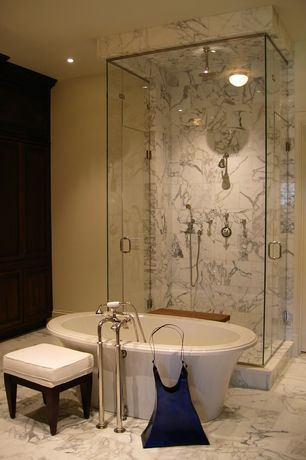 Modern Master Bathroom with specialty door, Master bathroom, complex marble floors, Freestanding, frameless showerdoor