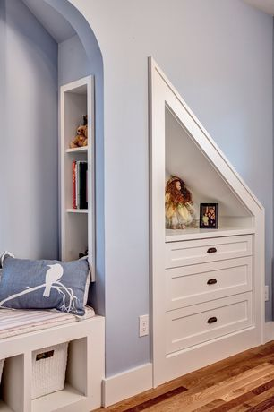 Craftsman Kids Bedroom with Navy Blue Bird on Cherry Blossom Pillow