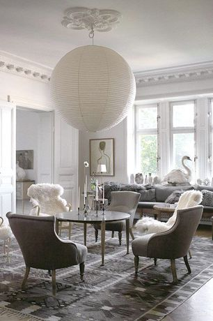 "Traditional Living Room with 48"" Even Ribbing Round Paper Lantern, Safavieh Kenya Kny635a Grey Area Rug, French doors"