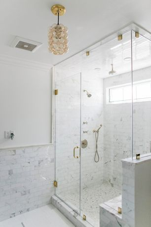 Contemporary Master Bathroom with Wall Tiles, Casement, Chandelier, Crown molding, Shower, Rain shower, can lights