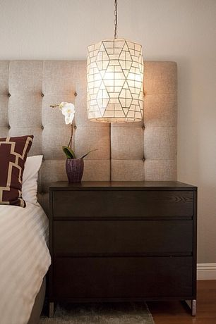 Contemporary Master Bedroom with Humble + haute sussex beige queen upholstered headboard, Paint 1