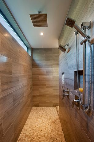 Contemporary Master Bathroom with Artos Safire Ceiling Mount Rain Shower Head, penny tile floors, Handheld showerhead