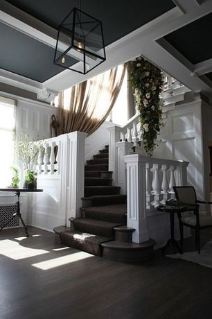 Traditional Staircase with Carpeted stairs, Tie-back drapes, High ceiling, Paint 2, Faux flowers, Paint, Side chair, Columns