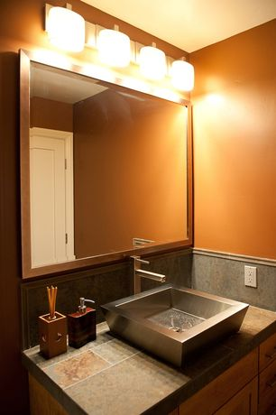 Modern Powder Room with Ms international - aqua rustic slate tile, Vessel sink, Paint, partial backsplash, Slate counters