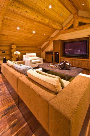 Rustic Living Room with Built-in bookshelf, Exposed beam, Hardwood floors