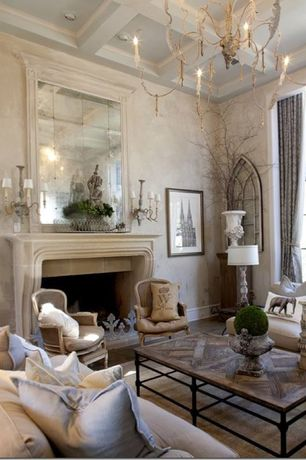 Traditional Living Room with Furniture Classics LTD Louis XV Bergere Hand Painted Arm Chair, Standard height, Chandelier