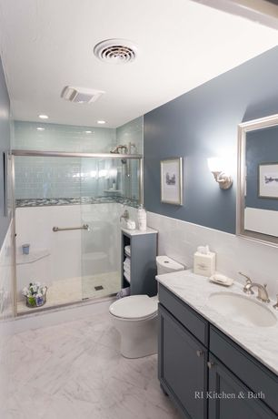 Cottage 3/4 Bathroom with flush light, Handheld showerhead, Raised panel, can lights, Wall sconce, Complex marble counters