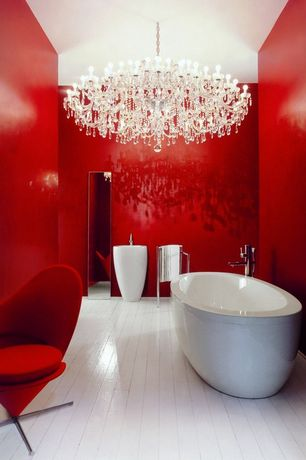 Contemporary Master Bathroom with Toto cast iron nexus bathtub, Vitra heart cone chair, Chandelier, Pedestal sink