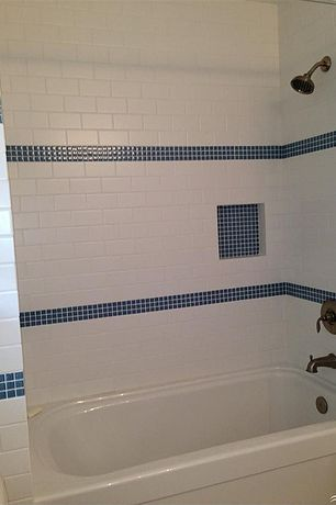 Cottage Full Bathroom with tiled wall showerbath, Freestanding, Lunada Bay Glass Tile Mosaic - Bluegrass, Rain shower