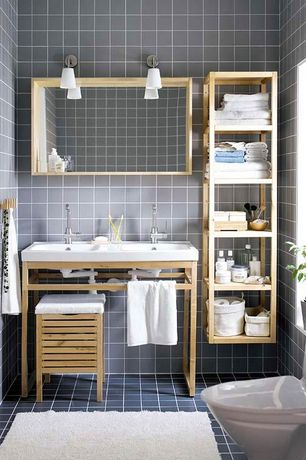 Contemporary 3/4 Bathroom with Undermount sink, Molger storage stool, Molger shelving unit, West elm darby wool shag rug