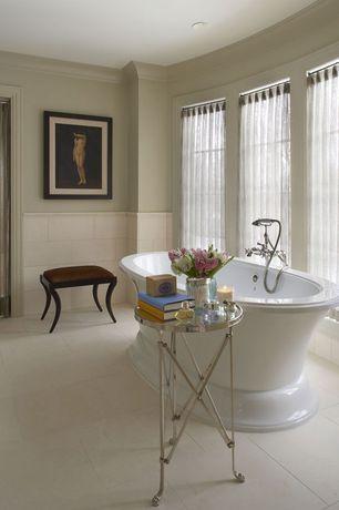 Traditional Master Bathroom with Avon acrylic pedestal tub, Freestanding, Arizona Tile Pearl White Polished Porcelain Tile