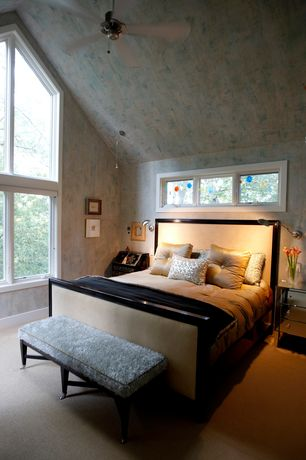 Eclectic Master Bedroom with Casement, Ceiling fan, bedroom reading light, Standard height, picture window, Carpet