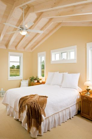 Country Master Bedroom with Carpet, Ceiling fan, Exposed beam, High ceiling
