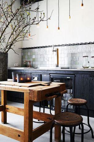 Contemporary Kitchen with full backsplash, drop-in sink, Wine refrigerator, One-wall, limestone floors, Metal Tile