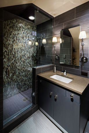Contemporary 3/4 Bathroom with Ms international: focus porcelain in glacier, Wall sconce, European Cabinets, Flush
