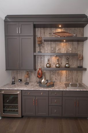 Contemporary Bar with Shaker style cabinets, Undermount lighting, Hardwood floors, Complex granite counters, Open shelving