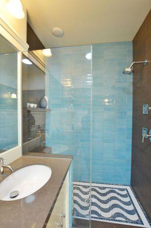Full Bathroom with Rain shower, Flat panel cabinets, Subway Tile Outlet, Sky Blue Glass Subway Tile., Flush, flush light