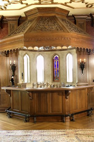 Mediterranean Bar with interior wallpaper, Hardwood floors, Wainscotting, Wall sconce, Crown molding