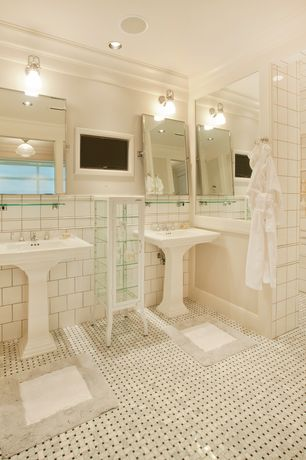 Traditional Master Bathroom with Master bathroom, flush light, Arizona Tile Manhattan Tumbled mesh, Pedestal sink