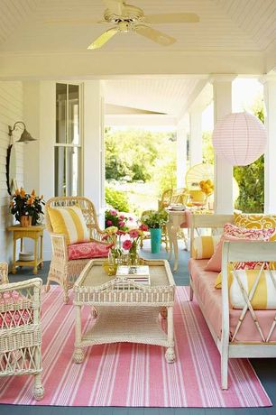 Cottage Porch with Ceiling fan, Paint 1, double-hung window, Covered porch, Outdoor wicker furniture, Painted wood floor