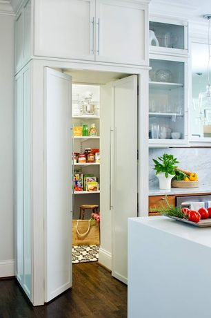 Contemporary Pantry with Marble backsplash, flat door, Glass panel door, Walk-in pantry, Hardwood floors, Standard height