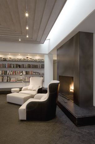 Contemporary Living Room with Brick floors, Built-in bookshelf, flush light, insert fireplace, High ceiling, can lights