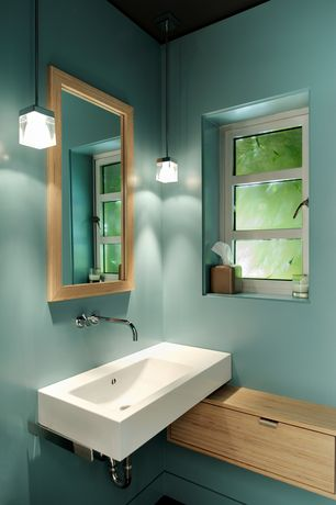 Contemporary Powder Room with Corian- Designer White, Wall mounted sink, Pendant light, Standard height, Casement, Paint