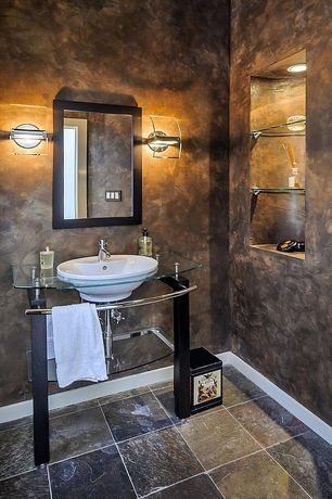 Modern Powder Room with Glass counters, Arc Panel Glass and Chrome Wall Sconce, Console sink, Standard height, Powder room