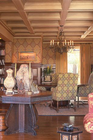 Traditional Library with Built-in bookshelf, Box ceiling, interior wallpaper, Wainscotting, Standard height, French doors