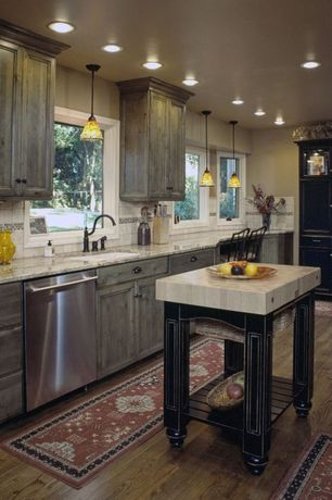 "Country Kitchen with Kitchen island, Glass panel door, Crosley Parsons 72"" Kitchen Pantry, Undermount sink, Glass panel"