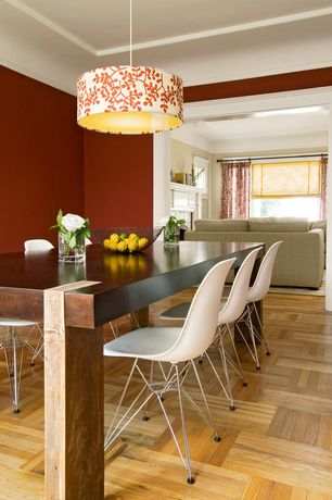 "Modern Dining Room with Young house love scallop print drum shade pendant - 16"", Square pattern hardwood floors"