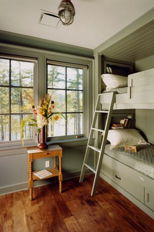 "Cottage Kids Bedroom with flush light, Franklin park 8 1/2"" wide galvanized outdoor ceiling light, Hardwood floors, Bunk beds"
