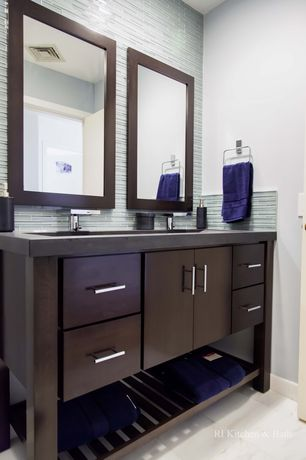 Contemporary Full Bathroom with Undermount sink, Soapstone counters, Reflections Hand Painted Linear Glass Mosaic Tiles