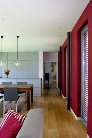 Contemporary Dining Room with Columns, Hardwood floors, Pendant light