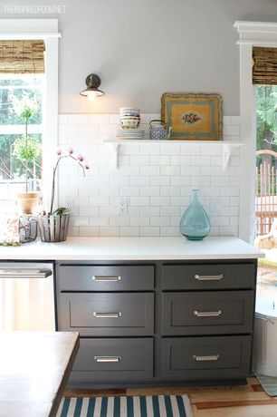 Traditional Kitchen with French doors, dishwasher, Subway Tile, double-hung window, Inset cabinets, Standard height, One-wall