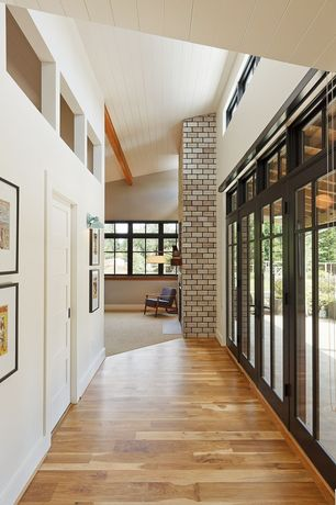 Contemporary Hallway with Transom window, Wide Plank Flooring Custom Hickory Cottage View Hardwood Flooring, Columns