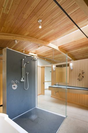 Contemporary Master Bathroom with partial backsplash, Crema Marfi Marble Select | Porcelain Backed Polished, Soapstone