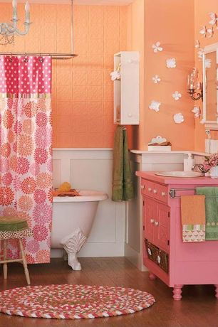 Eclectic Full Bathroom with Bathtub, Inset cabinets, Wall sconce, Wainscotting, Chandelier, Clawfoot, Standard height, Paint