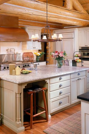 Country Kitchen with Framed Partial Panel, Flat panel cabinets, U-shaped, Built In Panel Ready Refrigerator, gas range