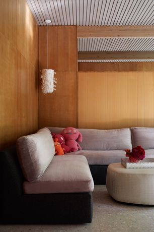 Contemporary Living Room with Concrete tile , Wood paneling, Standard height, Exposed beam, Pendant light, Paint