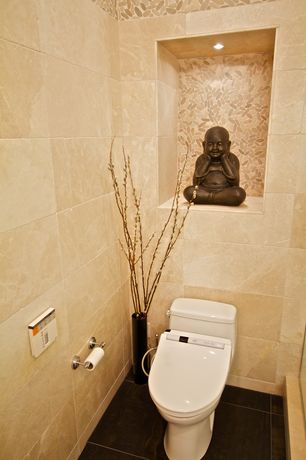 Eclectic Powder Room with Bliss Pebble - Fiji Cream Zen Flat Mosaic, Powder room, High ceiling