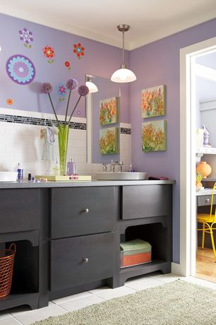 Contemporary Kids Bathroom with Double sink, Flush, Pendant light, Kids bathroom, Crown molding, Subway Tile, Vessel sink